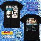 TOUR 2021 5SOS SECONDS OF SUMMER NO SHAME U.KINGDOM TOUR BLACK TEE SHIRT W DATES CODE EP01
