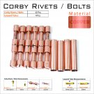 12 Copper Corby Rivets 4 Copper lanyard Tubes For Knifemaking Supplies Knife Mounting Hardware