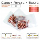 6 Copper Corby Rivets 3 Copper lanyard Tubes For Knifemaking Supplies Knife Mounting Hardware