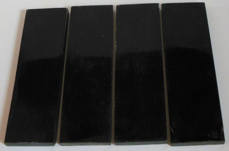 4 Buffalo Black Horn Scales 6x1.75x3/8 Knifemaking Horn Handles Door Knobs BL