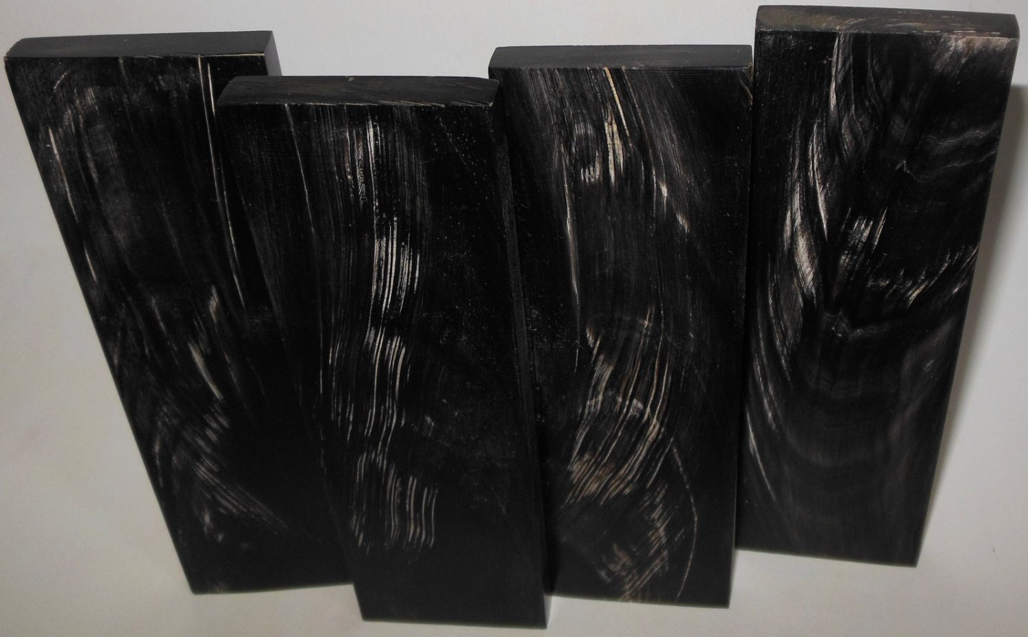 4 Buffalo Streaked Horn Scales 6x1.75x3/8 Knifemaking Real Horn Eye Glass Frames