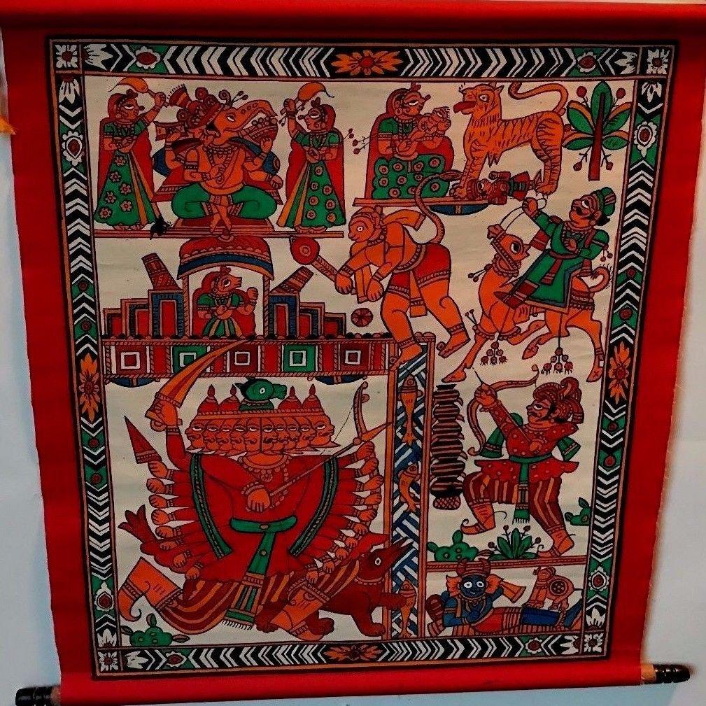 "India Painting Rajasthan Miniature Art 16""x15"" Handmade Indian Folk Art Antique"