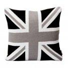 Battilo Retro Style Knit Home Decorative Throw Pillow Cushion - British Rice Word Flag( 45CMx45CM)