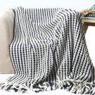"Battilo Navy and White Chain Link Knit Fashion Throw Blanket. 60"" x 50"""