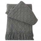 "Battilo [Grey]Throw Blanket Textured Solid Soft Sofa Couch Decorative Knit Blanket, 51"" x 59"""