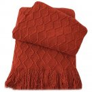 """Battilo [Red]Throw Blanket Textured Solid Soft Sofa Couch Decorative Knit Blanket, 51"""" x 59"""""""