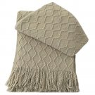 "Battilo [Khaki]Throw Blanket Textured Solid Soft Sofa Couch Decorative Knit Blanket, 51"" x 59"""