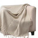 "Battilo(60"" X 50"") Large Cotton Zig-Zag Sofa Throws Tassel Arm Chair Covers"