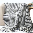 "Battilo Navy and White Chain Link and cable Knit Fashion Throw Blanket 60"" x 50"""