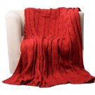 "Battilo [Red]Soft Knitted Dual Cable Throw Blanket, 50"" W x 60"" L"