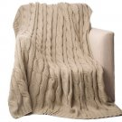 "Battilo [Khaki]Soft Knitted Dual Cable Throw Blanket, 50"" W x 60"" L"