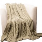 "Battilo[Camel]Knitted Luxury Chenille Throw blanket, 51"" by 67"""