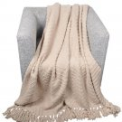"""Battilo (Cream, 56"""" x 96"""")Boon Knitted Tweed Throw Couch Cover Blanket"""