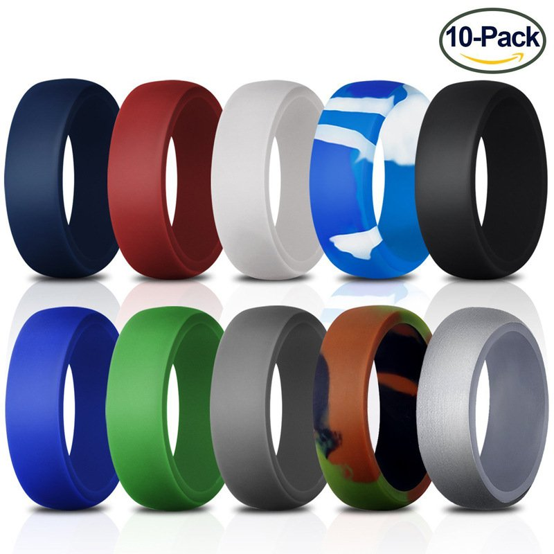 Silicone Wedding Ring for Men [Size 11]10 Pack Rubber Rings Fit for Sports and Outdoors