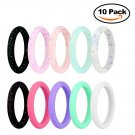 Battilo 10 Pack[Size 4]Silicone Wedding Ring for Women Colorful Silicone Rubber Band Wedding Bands