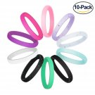 Battilo 10 Pack[Size 8]Silicone Wedding Ring for Women Colorful Silicone Rubber Band Wedding Bands