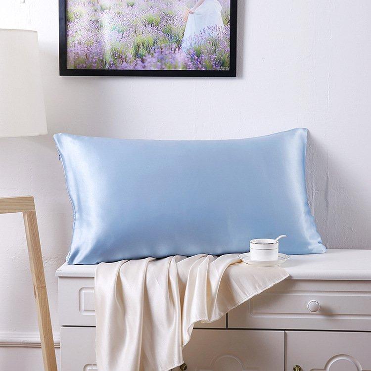 Battilo (Light blue)100% Pure Mulberry Silk 19 Momme Charmeuse Silk Pillowcase Cotton underside 1pc