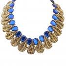 Women Fashion Retro Ethnic Style Leaf Waterdrop Bohemia Vintage Choker Bib Chain Necklace