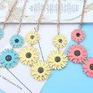 Women Fashion Bohemian Style Sweet Daisy Chain Necklace with Black Imitation Rhinestone
