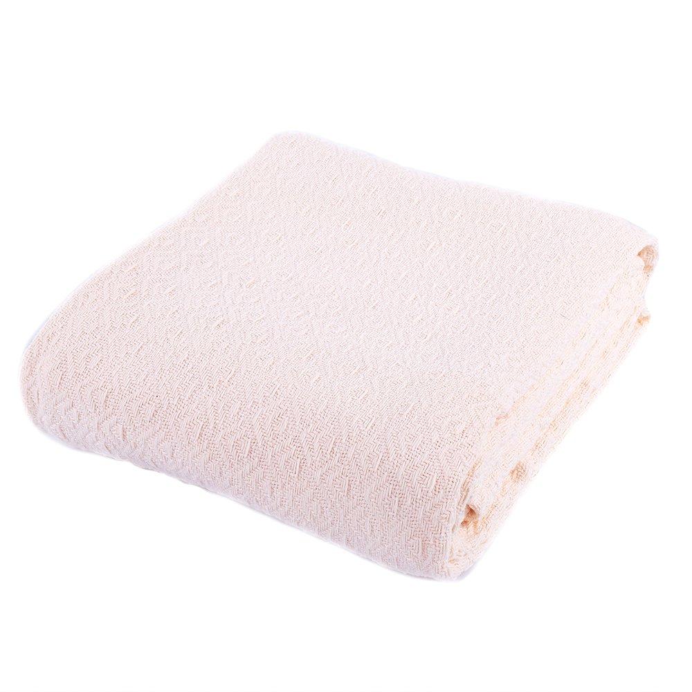 "Battilo 100% Cotton Thermal Blanket Bed Blanket King Size Throw Blanket 66""x90"""