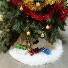 "Battilo Christmas Tree Skirt White Plush New Year Party Holiday Ornament 31"""