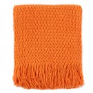 Battilo(Orange)100% acrylic Blanket with Tassels Throws for Sofa Chair Settee 130x150cm
