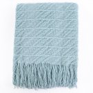 Battilo Knitted Throw Diamond Pattern Blanket for Sofa Chair Bed Decoration (Light Blue)