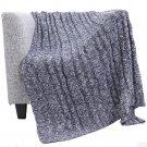 "Battilo Knit Soft Warm Sleeping Cover Blanket Rug for Bedroom Sofa Office, 50"" x60'', Navy"