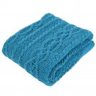 """Battilo Shibles Knitted Chenille Throw Blanket for Sofa and Couch - Blue, 50""""x60"""""""
