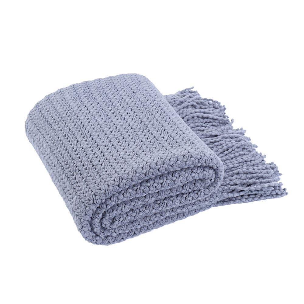 "Battilo (Bluish Grey)Wheat Knit Tassel Throw Blanket For Couch Sofa Bed Home Décor 51"" x 59"""