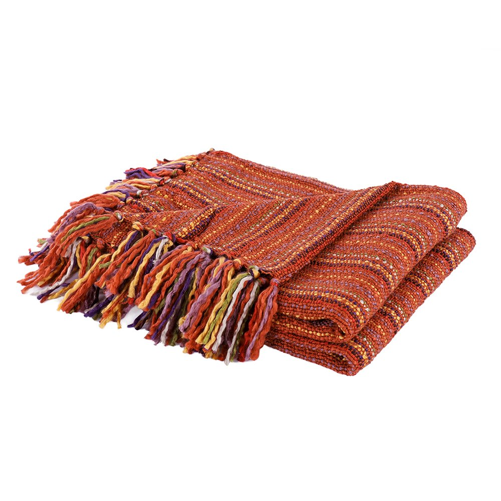 Battilo All-season Striped Colorful Soft and Breathable Throw Blanket