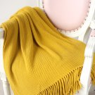 "Battilo[Mustard 50""x60""]Soft Throw Blanket Warm & Cozy for Couch Sofa Bed Beach Travel"