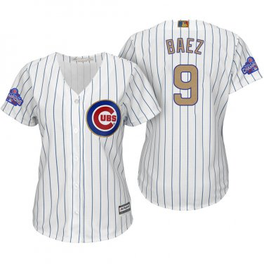 the best attitude a9555 8d026 Women Javier Baez 9 Chicago Cubs World Series Patch Cool ...