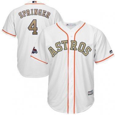 best website f60ac 4a2b5 4 George Springer Jersey Gold Edition Men Houston Astros ...