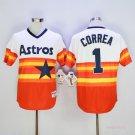 Mens  Houston Astros 1 Carlos Correa Orange 1980 Throwback Baseball Jersey