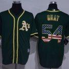 MENS  Oakland Athletics 54 Sonny Gray Green USA Flag Fashion Baseball Jersey
