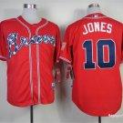 MENS     Atlanta Braves 10 Chipper Jones Red Cool Base Baseball Jersey