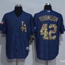 MENS  Los Angeles Dodgers 42 Jackie Robinson Navy Blue Baseball Jersey