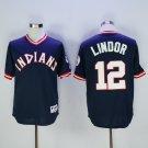 Men's Cleveland Indians 12 Francisco Lindor Navy Blue Pullover Baseball Jersey