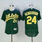 Men's  Oakland Athletics 24 Rickey Henderson Green Yellow Flexbase Jersey