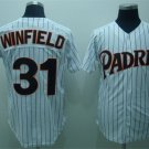 Men's  San Diego Padres 31 Dave Winfield White Pinstripe Throwback Jersey