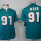 Youth kids Miami Dolphins #91 Cameron Wake Stitched footabll jersey