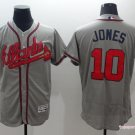 Men's  Atlanta Braves 10 Chipper Jones Gray Flexbase Baseball Jersey