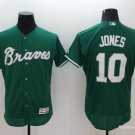 Men's  Atlanta Braves 10 Chipper Jones Green Flexbase Baseball Jersey