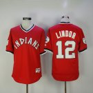 Men's  Cleveland Indians 12 Francisco Lindor Red Pullover Baseball Jersey