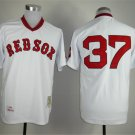 Men's  Boston Red Sox 37 Bill Lee White Pullover Cooperstown Baseball Jersey