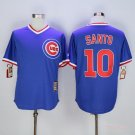 Men's  Chicago Cubs 10 Ron Santo Blue Cool Base Pullover Baseball Jersey