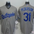 Men's  Los Angeles Dodgers 31 Joc Pederson L Gray Cool Base Baseball Jersey