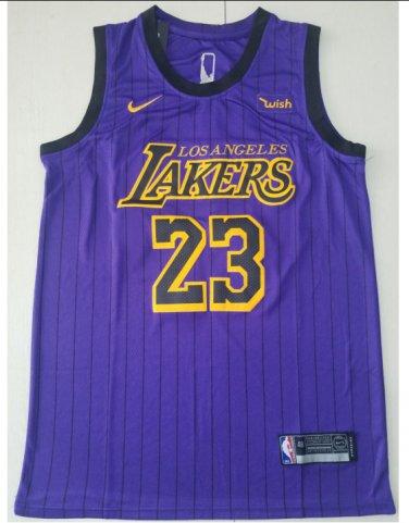 on sale 46a00 6ec3c Men's New Lebron James #23 Lakers Jersey Purple Stripe