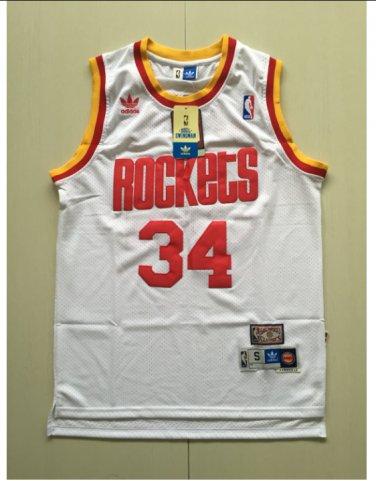 reputable site eaa36 008ee Houston Rockets 34# Hakeem Olajuwon Throwback Jersey White